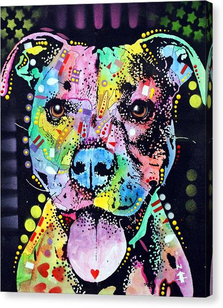 Pit Bull Canvas Print - Cherish The Pitbull by Dean Russo Art