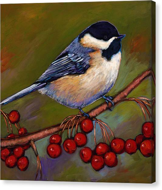 Chickadee Canvas Print - Cherries And Chickadee by Johnathan Harris