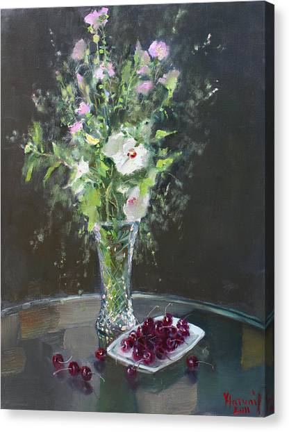 Cherries Canvas Print - Cherries And Flowers For Her IIi by Ylli Haruni
