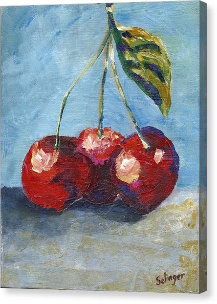 Cherries By Three Canvas Print