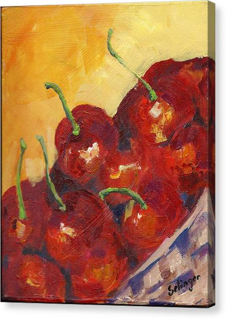 Cherries In A Basket Canvas Print
