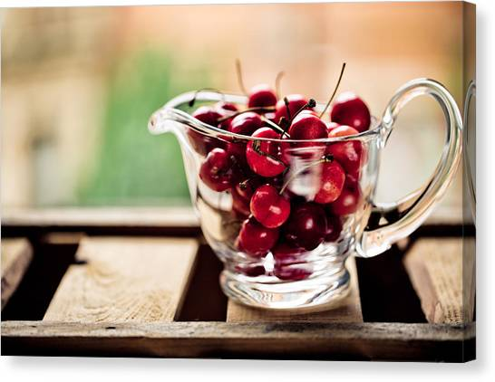 Wooden Bowls Canvas Print - Cherries by Nailia Schwarz