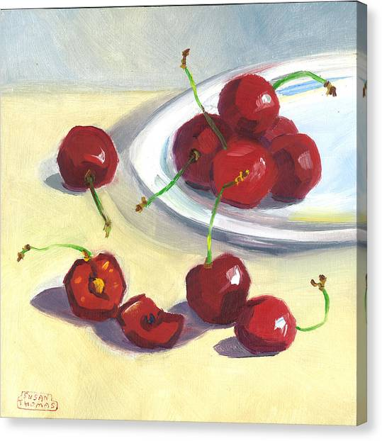Cherries On A Plate Canvas Print