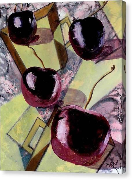 Cherries On Flat Homeware Canvas Print by Evguenia Men