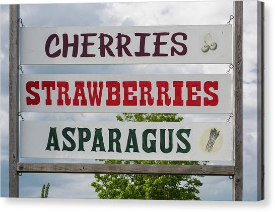 Asparagus Canvas Print - Cherries Strawberries Asparagus Roadside Sign by Steve Gadomski