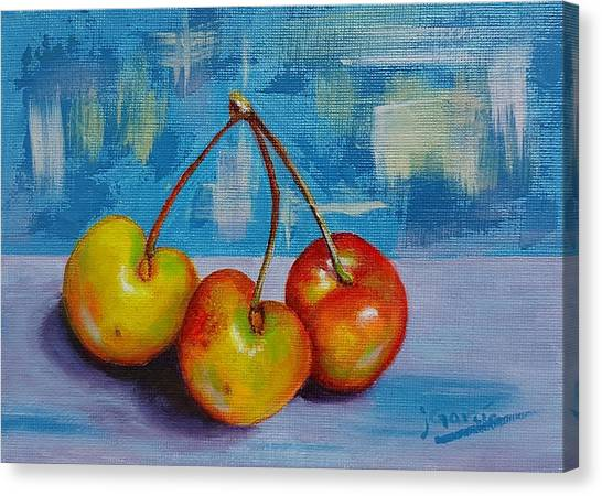 Cherries Trio Canvas Print