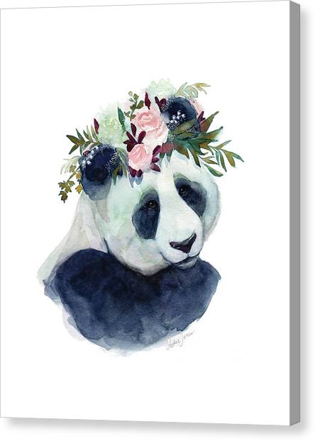 Panda Canvas Print - Cherry Blossom by Stephie Jones
