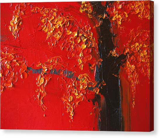 Cherry Blossom Tree - Red Yellow Canvas Print