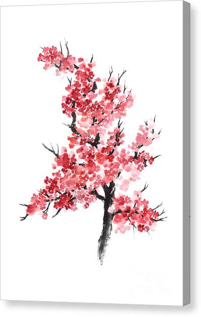 Japanese Canvas Print - Cherry Blossom Watercolor Poster by Joanna Szmerdt