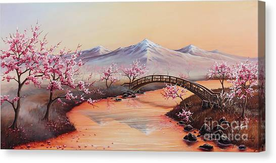 Cherry Blossoms In The Mist - Revisited Canvas Print