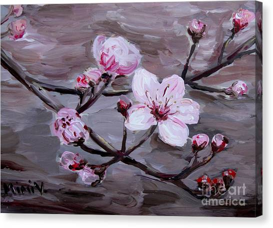Canvas Print featuring the painting Cherry Blossoms by Maria Langgle