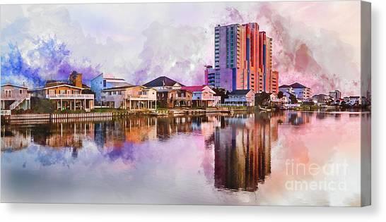 Cherry Grove Skyline - Digital Watercolor Canvas Print