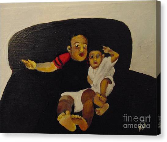 Canvas Print featuring the painting Cherubs by Saundra Johnson