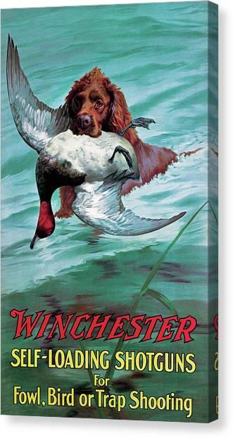 Chesapeake Retriever With Duck Canvas Print