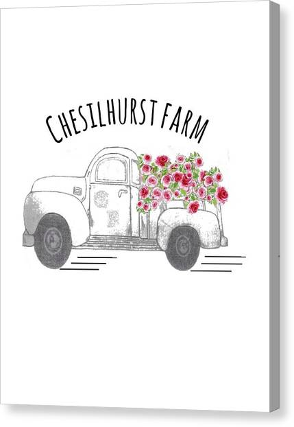 Canvas Print featuring the drawing Chesilhurst Farm by Kim Kent