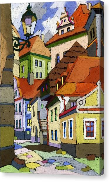 Pastel Canvas Print - Chesky Krumlov Masna Street 1 by Yuriy Shevchuk