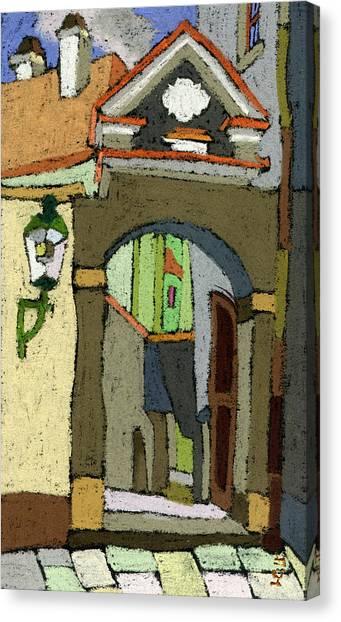 Pastel Canvas Print - Chesky Krumlov Old Street Latran  by Yuriy Shevchuk
