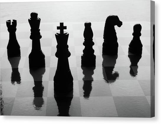 Reflections Canvas Print - Chess Board And Pieces by Jon Schulte