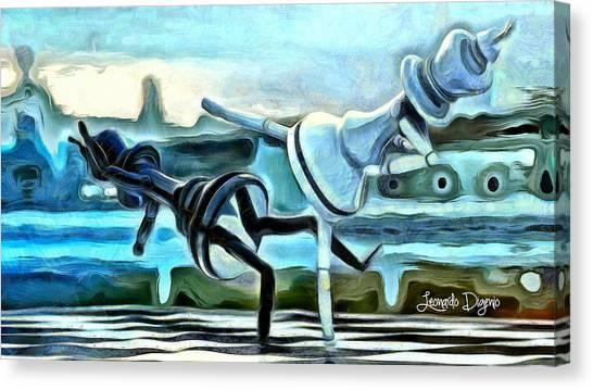 Champion Canvas Print - Chess Figthers - Van Gogh Style by Leonardo Digenio