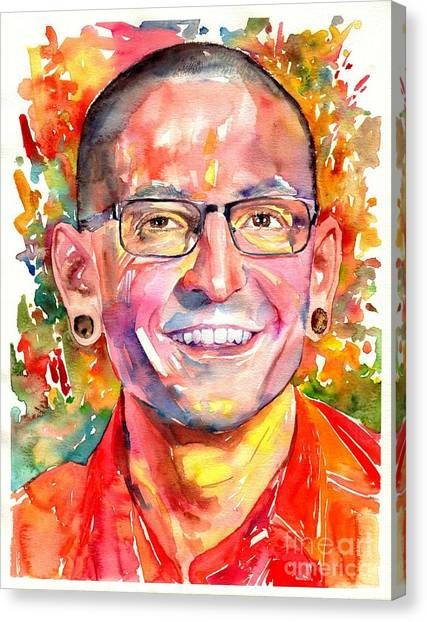 Marijuana Canvas Print - Chester Bennington Watercolor by Suzann's Art