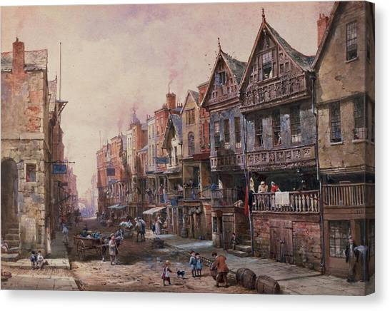 Shopfronts Canvas Print - Chester by Louise J Rayner