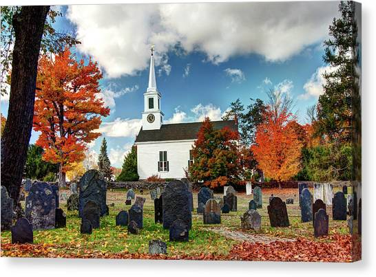 Chester Village Cemetery In Autumn Canvas Print