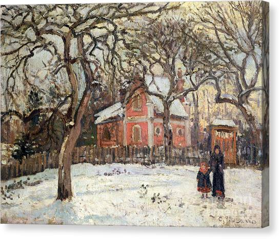 Camille Canvas Print - Chestnut Trees At Louveciennes by Camille Pissarro