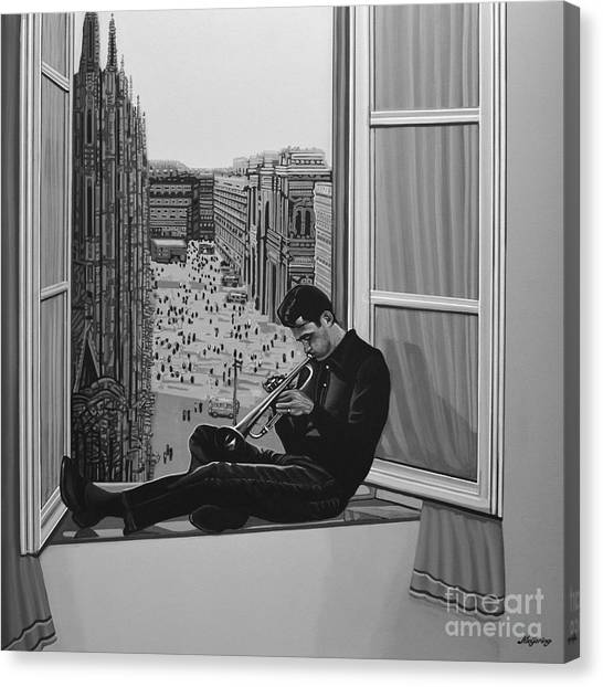 Music Canvas Print - Chet Baker by Paul Meijering