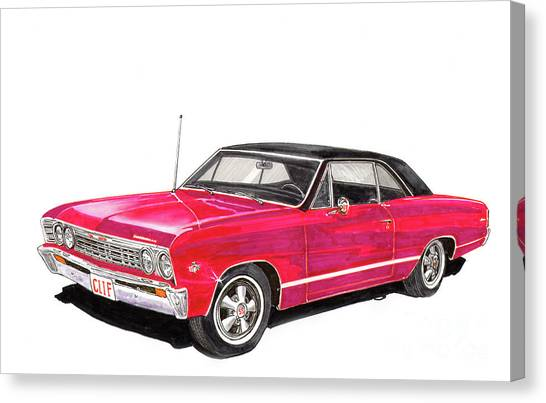 Canvas Print - Chevelle S S  327 by Jack Pumphrey