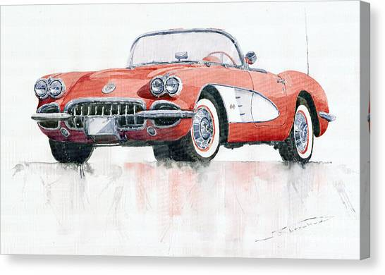 Automobiles Canvas Print - Chevrolet Corvette C1 1960  by Yuriy Shevchuk