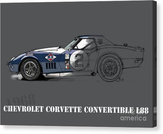 Arte Canvas Print - Chevrolet Corvette Convertible L88 1968, Ink And Markers Art Print by Drawspots Illustrations