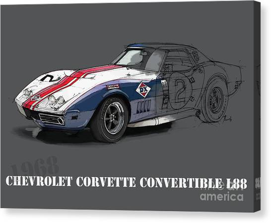 Arte Canvas Print - Chevrolet Corvette Convertible L88 1968,original Fast Race Car by Drawspots Illustrations