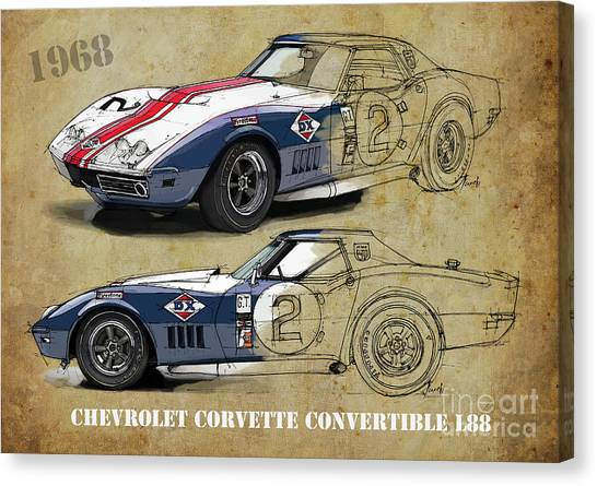 Arte Canvas Print - Chevrolet Corvette Convertible L88 1968,original Fast Race Car. Two Drawings, One Print by Drawspots Illustrations