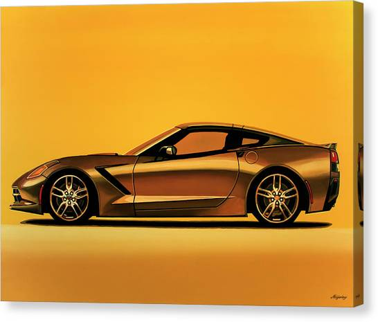 Chevrolet Corvette Canvas Print - Chevrolet Corvette Stingray 2013 Painting by Paul Meijering