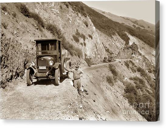 Big South Canvas Print - Chevrolet Truck On Highway One Big Sur  California 1926 by California Views Archives Mr Pat Hathaway Archives