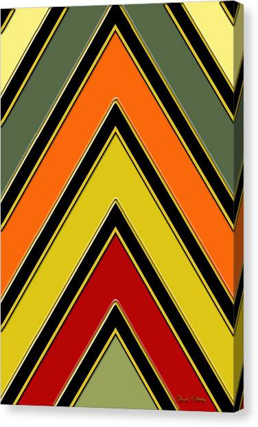 Pattern Canvas Print - Chevrons With Color - Vertical by Chuck Staley