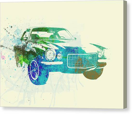 Chevy Canvas Print - Chevy Camaro Watercolor by Naxart Studio