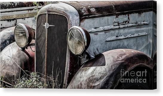 Canvas Print featuring the photograph Chevy Grill IIi by Brad Allen Fine Art