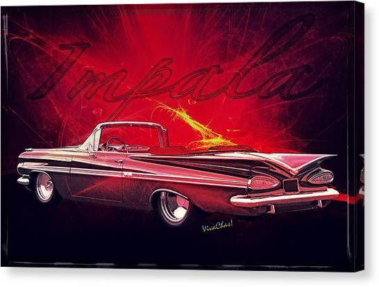 Chevy Impala Convertible For 1959 Canvas Print