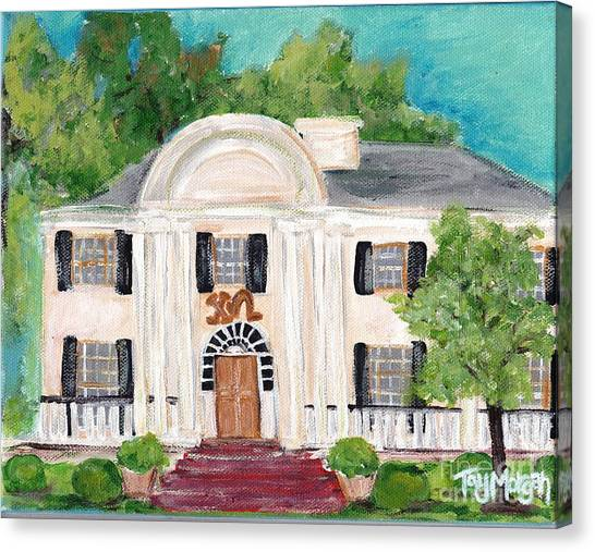 Chi Omega Canvas Print - Chi Omega House At Ole Miss by Tay Morgan