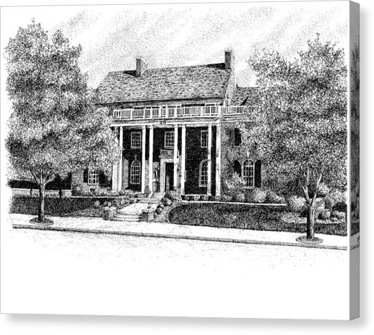Chi Omega Canvas Print - Chi Omega Sorority House, Purdue Universit, West Lafayette, Indiana by Stephanie Huber