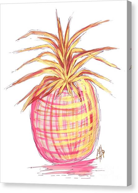 Pineapples Canvas Print - Chic Pink Metallic Gold Pineapple Fruit Wall Art Aroon Melane 2015 Collection By Madart by Megan Duncanson