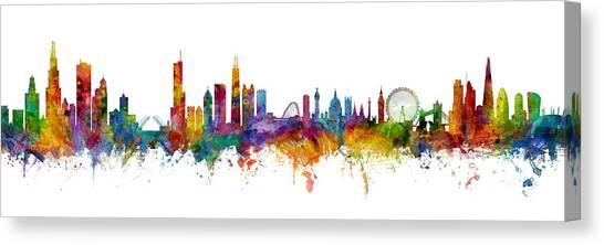 London Skyline Canvas Print - Chicago And London Skylines Mashup by Michael Tompsett