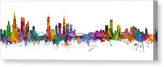 Chicago Skyline Canvas Print - Chicago And Milwaukee Skyline Mashup by Michael Tompsett