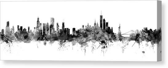 University Of Illinois Canvas Print - Chicago And New York City Skylines Mashup by Michael Tompsett