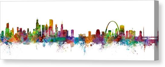 Missouri Canvas Print - Chicago And St Louis Skyline Mashup by Michael Tompsett