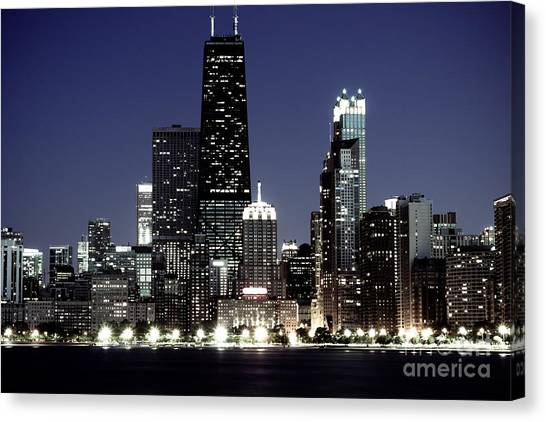 Hancock Building Canvas Print - Chicago At Night High Resolution by Paul Velgos