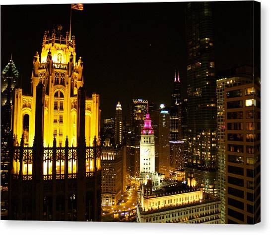 Chicago At Night  Canvas Print by Jacob Stempky