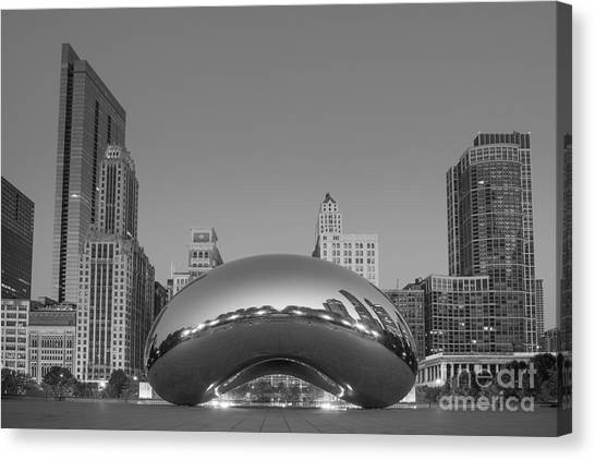 The Bean Canvas Print - Chicago Bean Bw by Michael Ver Sprill