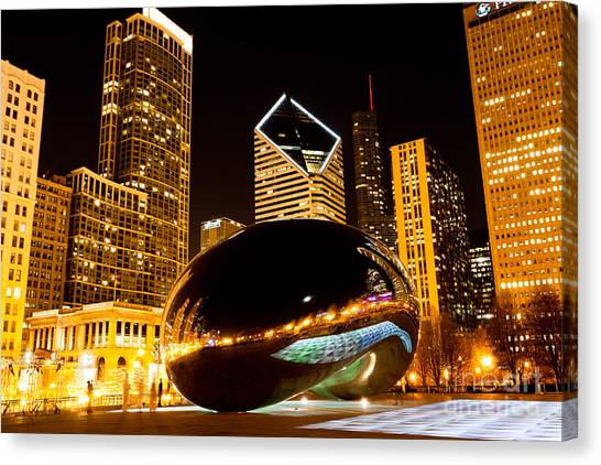 The Bean Canvas Print - Chicago Bean Cloud Gate At Night by Paul Velgos